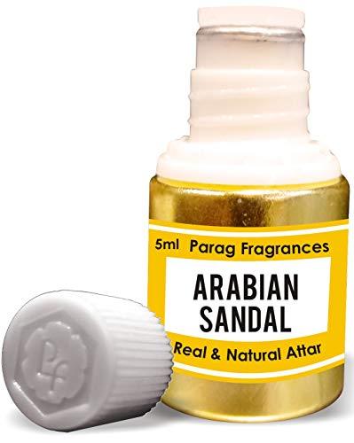 Parag Fragrances Arabian Sandal Attar 5 ml (acide sans alcool longue durée pour homme ou utilisation religieuse) traditionnel Bhapka Processed Attar / Fabriqué en Inde.