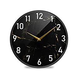 3D Stylish Black Marble Stone with Gold Geometric Print Wall Clock Round Non Ticking Battery Operated Accurate Decorative for Kitchen Living Room Bedroom Office 9.5Inch