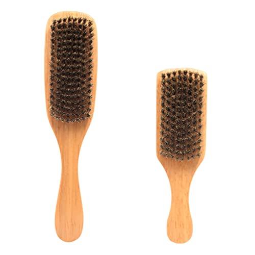 minkissy 2 Piezas Cepillo de Barba Cepillo de Madera Cepillo de Pelo de Jabalíes Cepillo de Limpieza de Peine Cepillo de Viaje Corto Cepillo de Peluquería Cepillo de Aseo para Hombres