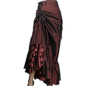 (Plus 24) Steampunk Ball – Burgundy Victorian Gothic Burlesque Corset Bustle Skirt