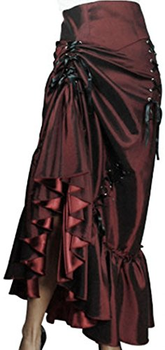(XXL) Steampunk Ball - Burgundy Victorian Gothic Burlesque Corset Bustle Skirt 3