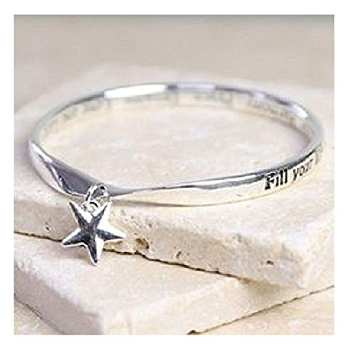 Rue B Star Charm Fill Your Life with Joy.Harmony.Peace.Dreams Quote Charm Bangle