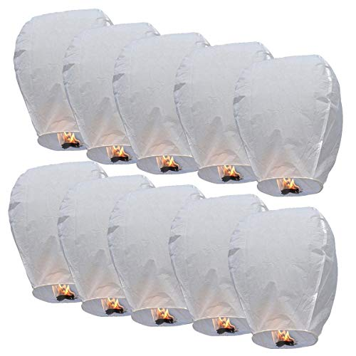 Lot de 10 piéces Lanterne Céleste Thaïlandaise Volante 100% biodégradables et non inflamables