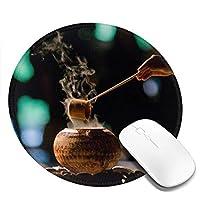 茶道 マウスパッド丸型 個性的 ゴム製裏面 ゲーミングマウスパッド かわいい PC ノートパソコン 円形 デスクマット 滑り止め