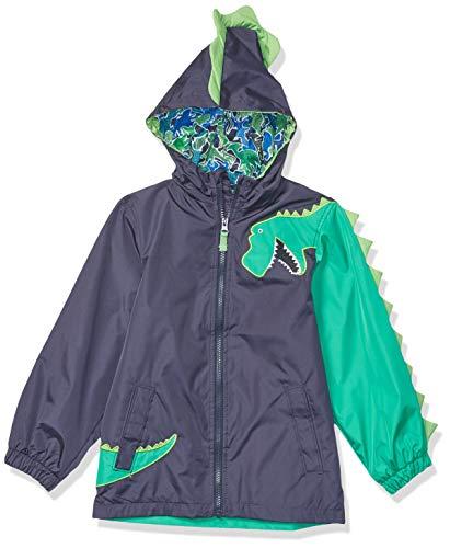 LONDON FOG Boys' Toddler Little Animal Rainslicker Rain Jacket, Navy Dinosaur, 4T