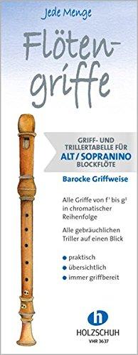 Jede Menge Flötengriffe: Griff- und Trillertabelle für Alt- und Sopraninoblockflöte barocke Griffweise