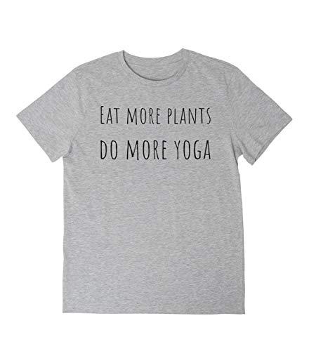 Camiseta con Dicho - eat more plants, do more yoga - Ropa Mujer Hombre, T-Shirt Manga Corta, S M L XL XXL Tallas Grandes, tshirt Algodón Blanco/Gris/Negro | Regalo Camisa Top Yoga Pilates Accesorios