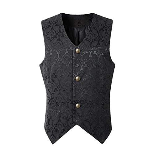 Binggong Herren Steampunk Gothic Weste Smoking Anzugweste Männer Mittelalter Kostüm Karneval Waistcoat West Vintage Cosplay Vest Overcoat