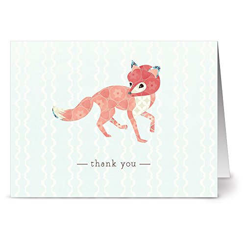 Note Card Cafe Thank You Cards with Kraft Envelopes   24 Pack   Woodland Fox   Blank Inside, Glossy Finish   for Greeting Cards, Occasions, Birthdays, Gifts