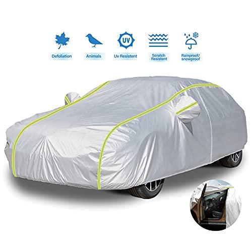 IZUKU Telo Copriauto da Esterno Impermeabile Telo per Auto con Strisce Fluorescenti Antigraffio Anti-UV Anti polveri/ Acqua/ Neve/ Foglie 490*190*150cm