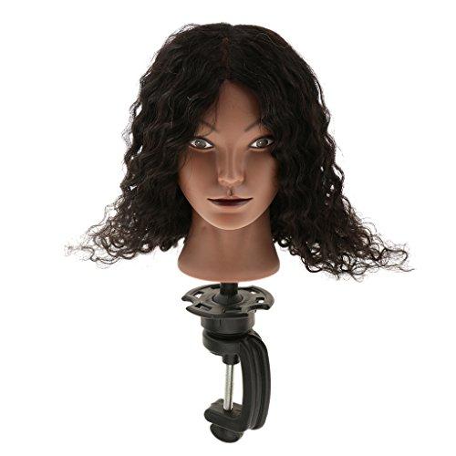 MagiDeal Silicone Têtes d'Exercice 100% Vrais Cheveux Humain Cosmétologie Tête Mannequin Femme à Formation / Entraînement Tressage de Coiffure + Support Stand
