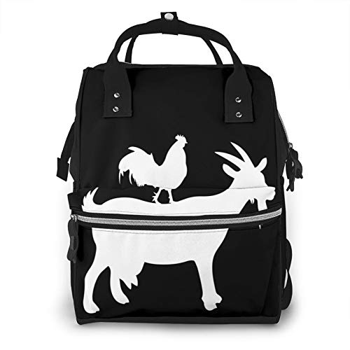 Risating Mummy Backpack - Goat and Rooster Maternity Nappy Bag Large Capacity Durable Twill Canvas for Mom Dad