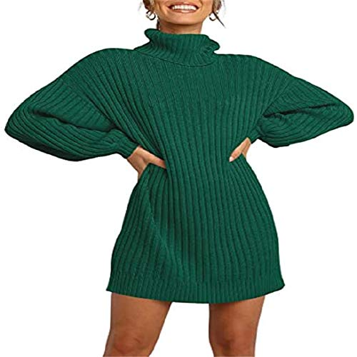 OtoñO E Invierno Moda Mujer Cuello Alto SuéTer De Longitud Media SuéTer Vestido Camiseta