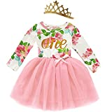 Shalofer Baby Baby Girl First Birthday Long Sleeves Dress Wild One Birthday Floral Outfit Sets (Wild One Long Sleeve, 12-18 Months)