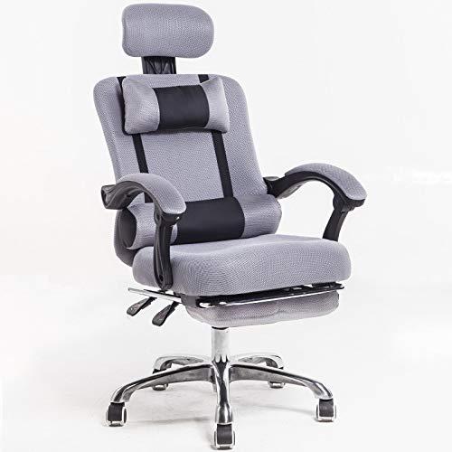 SXLZ Gaming Racing Chair Computerstuhl Computer Video Chair Ergonomisches Design Mit Fußstütze Und Lordosenstütze,Grey-withFootrest