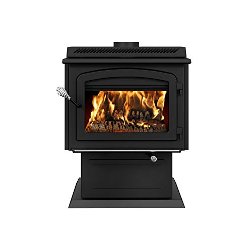 Drolet HT3000 on pedestal - High-efficiency 2020 EPA certified wood stove DB07300 - The HT3000 succeeds to the HT2000