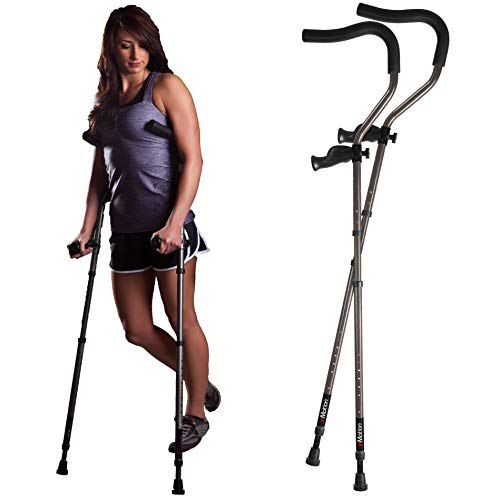 in-Motion Pro Crutches | Foldable | Ergonomic Handles | Spring Assist Technology | Articulating Tips | Size Tall (5'7' - 6'9') | Charcoal Grey