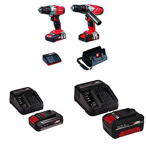 Einhell Power X-Change Cordless Combi and Drill Driver Kit - Twin Pack with Original Einhell 18V 2.5Ah Starter Kit Power X-Change with Einhell Power X-Change Starter kit Battery with a Charger