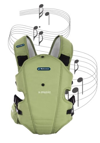 Bebemon BB004 - Mochila portabebés X-music adventure green con sistema de sonido (ideal para relajar al bebe con musicoterapia)