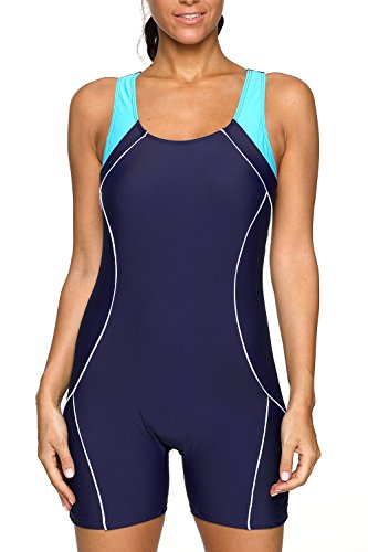 CharmLeaks Womens Athletic Bathing Suits One Piece Aerobics Swimsuits Navy XL
