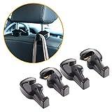 Toplus 4 PACK Car Headrest Hooks - Vehicle Universal Car Organizer Car Back Seat Headrest Hanger Holder Hook for Bag Purse Cloth Grocery, Black- Coloured