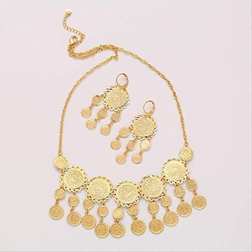 Nobrand Neue Exquisite Braut Hochzeit Schmuck Set Gold Farbe muslimische Münze Halskette Ohrring für Frauen Nahost Arabischen Schmuck Geschenk