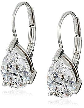 Platinum Plated Sterling Silver Teardrop Cubic Zirconia Earrings  4 cttw