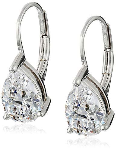 Platinum Plated Sterling Silver Teardrop Cubic Zirconia Earrings 4 cttw
