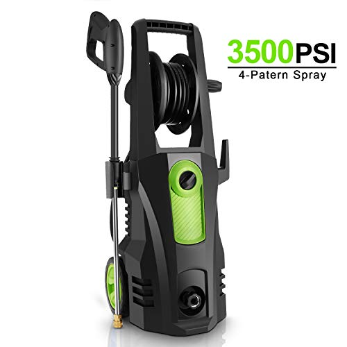 TEANDE 3500PSI Electric Pressure Washer, Car Pressure Washer High Power Washer Cleaner Machine with Hose Reel, 1800W, 2.6GPM, 4 Nozzles for Patio Garden Yard Vehicle