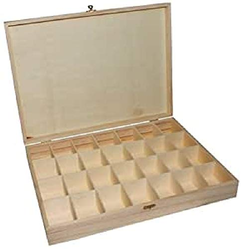 La Fourmi 390 x 290 x 60 mm de Cuentas de tamaño Grande Caja de almacenaje con Compartimento 28, Madera, Beige