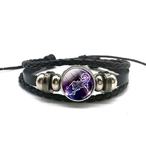 DERFX 12 Zodiac Signs Constellations Black Button Woven Leather Bracelet Glass Dome Jewelry Men Aries Libra Libra Leo Birthday Gift Accessories (Main Stone Color : Clear, Metal Color : Scorpio)