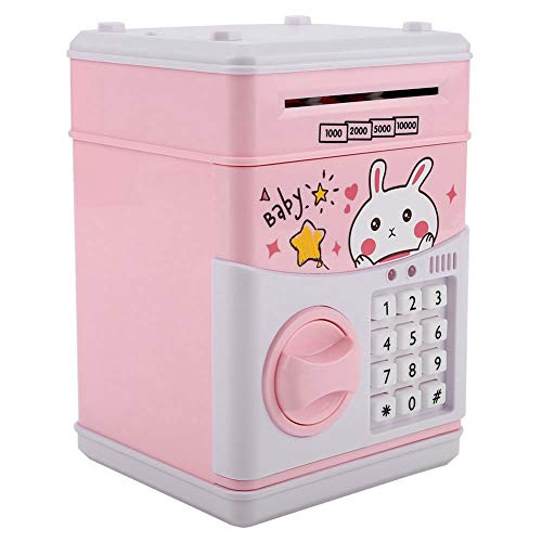 VGEBY1 Caja de Dinero de la contraseña, cajeros automáticos del cajero automático del Banco del Juguete del cajero automático Caja de la Moneda electrónica del Juguete de la música(Rosado)