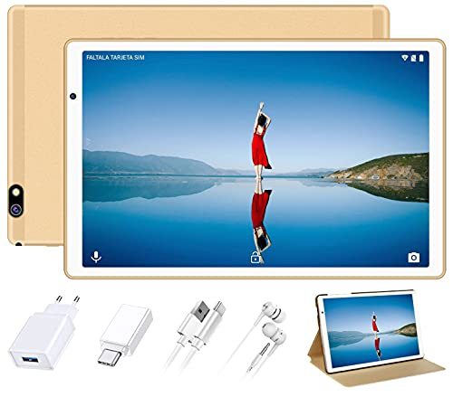FACETEL Tablet 10 Pulgadas HD Android 10 Pro Tablet PC Octa-Core 1.6 GHz 4GB + 64GB extendida 128GB, Google GMS, Cámaras Duales, FM | Bluetooth 4.0 | 8000mAh | Hotspot Móvil | IPS | WiFi - Oro