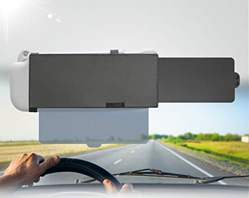 EcoNour Polarized Car Sun Visor Extender| One Pull Down Sunshade See Through Glass and One Side Sunshade Sun Block Piece| Protects from UV Rays, Snow Blindness| Universal fit for Most of The All Cars