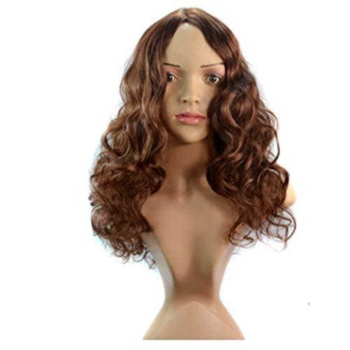 XUSHEN-HU Peluca de Pelo Natural - 30 cm de Largo y Rizado Peluca con la Peluca Ondulada Grande Brown Tala como el Pelo Real (Color: Marrón)