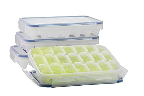 Komax Ice Cube Tray with No-spill Cover (Set of 4) BPA Free