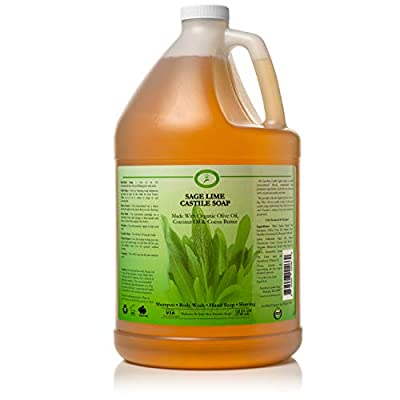 Sage Lime Castile Soap Liquid - 1 Gallon - Carolina Castile - Sage Body Wash & Sage Shampoo - Made With Organic Olive & Coconut Oils