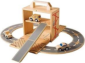Diggin Box Set Cars. Wooden Toy Garage Play-Set. 3 Vehicles, Road Track & Wood Ramp