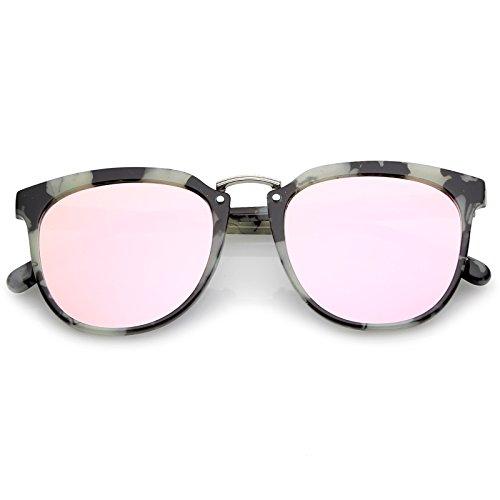 sunglassLA Herren Wayfarer Sonnenbrille Einheitsgröße Gr. Einheitsgröße, Black-White Marble/Pink Mirror