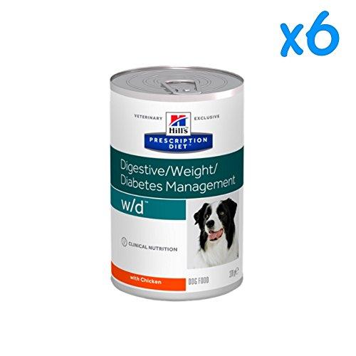 HILL'S P.D. DIGESTIVE WEIGHT DIABETS MANAGEMENT W/D CANINE CON POLLO - Cibo umido dietetico con pollo, per diabete mellito e iperlipidemia, di alta qualità, per cani adulti (6 scatolette (6x370 gr))