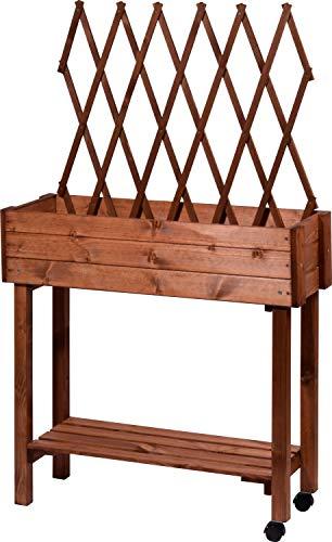 dobar 58187e Vielseitiges Hochbeet mit integrierter Rankhilfe, Rollbares Tischbeet für Terrasse und Balkon, 79 x 28,5 x 130 cm, Fichte, Braun