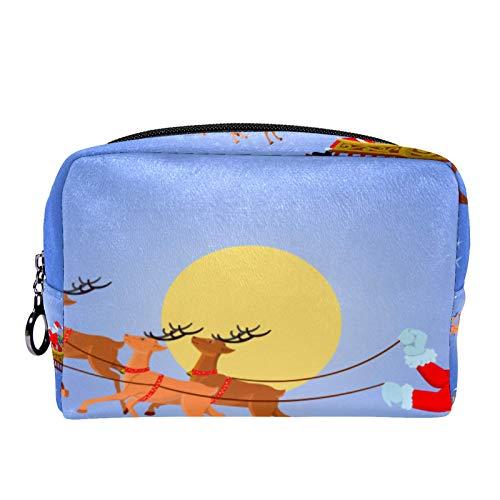 Schminktasche Portable Travel,Weihnachtsmann in einem Schlitten mit Geschenkboxen in der Nacht ,Kosmetiktasche für Frauen,Beauty Zipper Makeup Organizer Bag