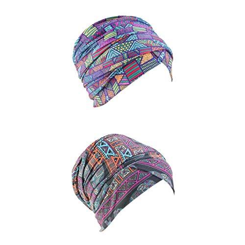 Hellery 2pcs Pañuelo De Algodón Para Mujer Turbante Elástico Gorro Gorro De Quimioterapia Sombrero Para La Pérdida Del Cabello
