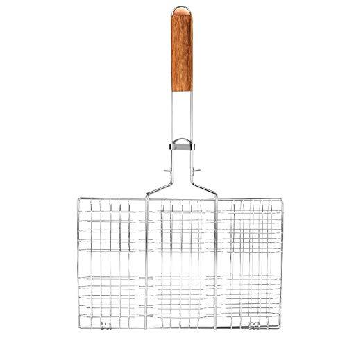 Rockyin Grill Net, Grill Maschendraht-Grill Net Grill Gegrillter Fisch Clip Outdoor-Camping-Werkzeug