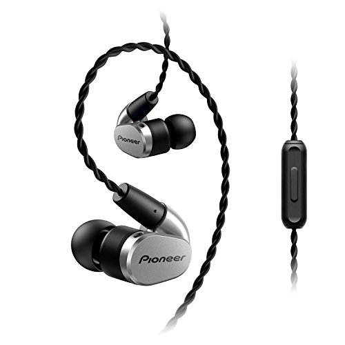 Pioneer SE-CH5T(S) Hi-Res Audio In-Ear Kopfhörer (Over-the-ear Kabel, verschlaufungsfrei, Flechtdesign, Bedienelement, Mikrofon, Rufannahmefunktion, für iPhone, Android Smartphones), Silber