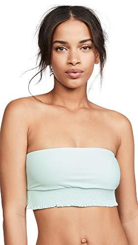 PilyQ Women's Bandeau Bikini Top, Azura, Green, Blue, Medium