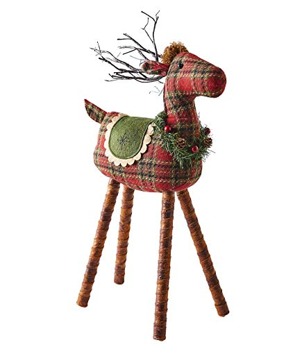 The Lakeside Collection Red and Green Reindeer Tabletop Decoration with Light Up LED Antlers