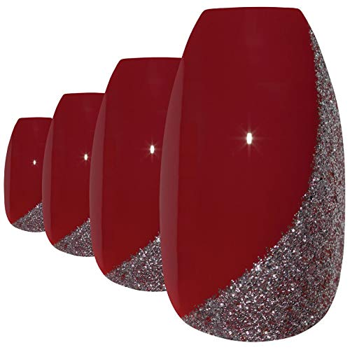 Faux Ongles Bling Art Rouge Étincelante Ballerine Cercueil 24 Longue Faux bouts d'ongles acrylique avec colle