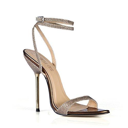 CHMILE CHAU-Scarpe da Donna-Sandali Tacco Alto a Spillo-Tacco a Metallo-Sexy-Moda-Partito-Cinturino alla Caviglia