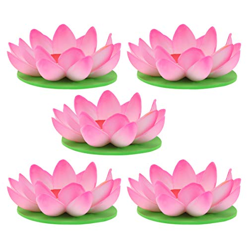 SOLUSTRE 5 Stück Schwimmende Lotus Laterne Kerze Wunschlampe Künstliche Lotusblüte Rosa mit Teelicht Schwimmleuchten Teichleuchte Pool Teich Garten Festival Weihnachten Erntedankfest Dekoration